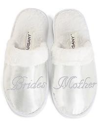 """Zapatillas de hotel de la madre de la novia para despedida de soltera, diamantes de imitación, con texto en inglés """"Brides"""" y """"Mother"""""""