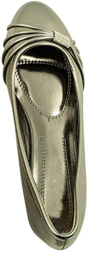 Elara Damen Pumps | Bequeme Keil Schuhe | Kleiner Keilabsatz Lederoptik Grau State