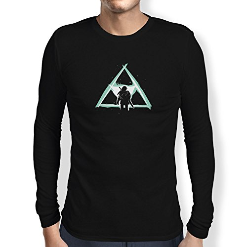 NERDO - Triforce Light - Herren Langarm T-Shirt, Größe XXL, schwarz (Hyrule Warriors Legends Kostüme)