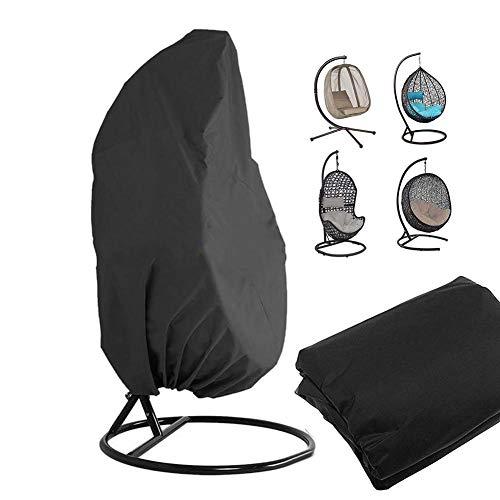 Jannyshop 210D Black Swing Chair Staubschutzhülle Schaukel Hängesessel Eggshell Rattan Swing Cover 190x115CM