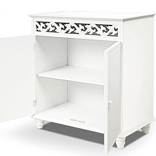 White wooden cupboard cabinet sideboard 2 doors furniture freestanding