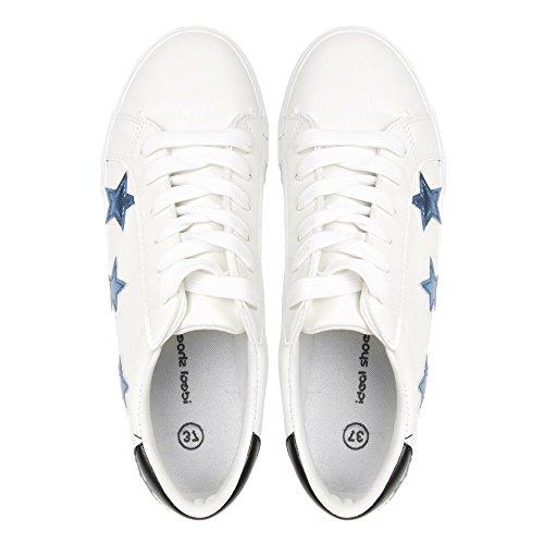 Ideal Shoes - Baskets basses avec empiècements étoiles Jilly Bleu
