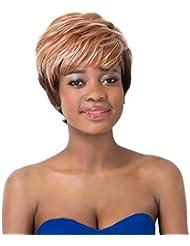 aicos Pixie Coupe ondulée synthétique tendance court Marron Noir Mixte Party perruque pour femmes