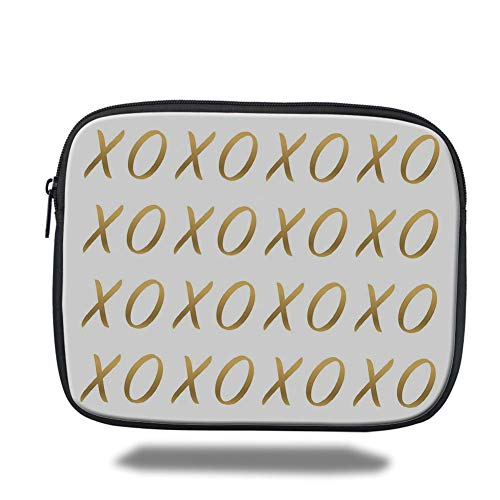 Laptop Sleeve Case,Xo Decor,Affection Sincerity Love Letter Figures with Old Fashioned Style Effects Print Decorative,Gold White,Tablet Bag for Ipad air 2/3/4/mini 9.7 inch (Xo Kids Tablet)