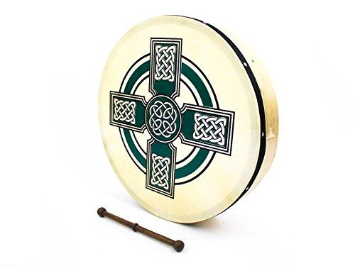prokussion grün Keltisches Kreuz Design 40,6cm Durchmesser Irish Bodhran und Schlägel