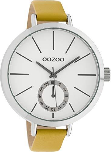 Große Oozoo XXL Damenuhr mit Lederband 48 MM Weiss/Senfgelb C10125