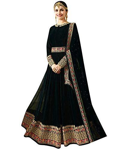 Wommaniya Impex Women's Marron Heavy Georgette Semi Stitched Anarkali Suit