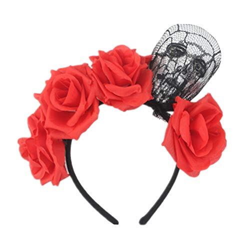 Amosfun Tag der Toten Blume Krone Stirnband Halloween Schädel Stirnband Tag der Toten Halloween Kostüm Party Favors Supplies (Tag Der Toten Halloween Kostüm)