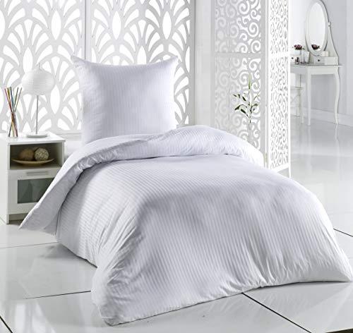 SALE AND MORE Damast Mako Satin Bettwäsche Set | Bettdeckenbezug mit Kopfkissenbezüge | Bettgarnitur | Baumwolle Bettbezug (Weiß, 155 cm x 200 cm)