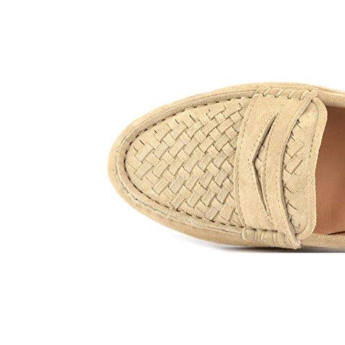 Elia B Chaussures Weave Mocassins en Daim, Femme Beige
