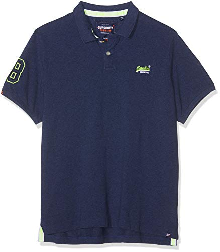 Superdry Herren CLASSIC PIQUE POLO Poloshirt, Blau (Storm Blue Grit Zxi), XL -