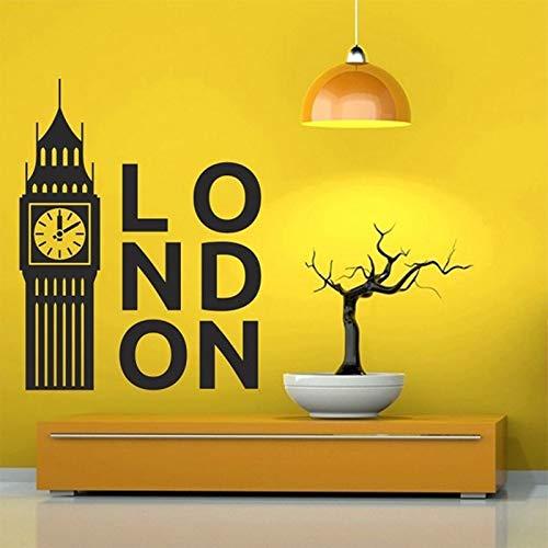 Qsdfcc UK London Wahrzeichen Landschaft Silhouette Vinyl Wandaufkleber Büro Universität Schlafsaal Wohnzimmer Dekoration Aufkleber 42x54cm