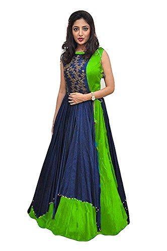 Women's Clothing Ethnic Gowns For Party Wear Designer Blue Taffeta Silk Embroidery Koti with Green Banglori Silk Semi Stitched Gown with Jacket Free Size Salwar Suit Dress Material Lehenga Choli for Girls 18 Years Latest Collection 2017 New Design Dresses for Girls special Holi gifts  available at amazon for Rs.495