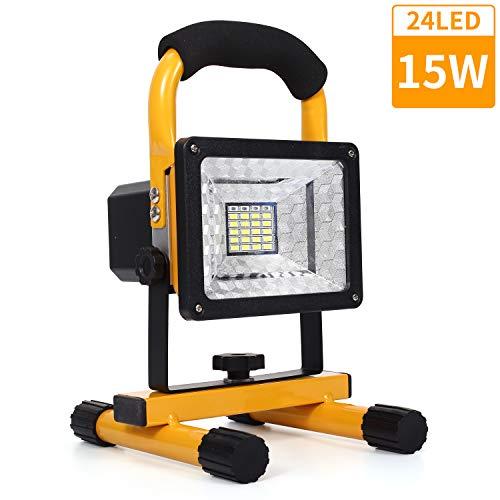 15W LED Baustrahler Akku, 24LED tragbares Flutlicht mit abnehmbarem Standfuß, IP65 Wasserdicht Scheinwerfer, 6000K Tageslichtweiß Strahler für Camping, Fischen, Forschungsreise, Autoreparatur