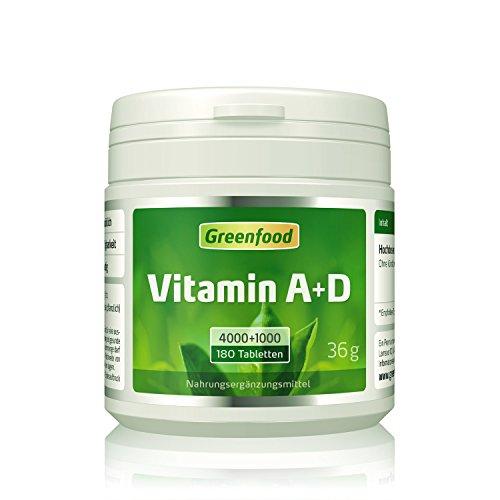 Vitamin A/ D, 4000/1000 iE, 180 Tabletten, vegan - gute Sehkraft, kräftige Knochen, starkes Immunsystem. Ohne Zusätze. OHNE Magnesiumstearat!