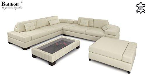 Ledersofa Sofagarnitur Couchgarnitur weiß Ledercouch 3-Sitzer + Daybed + XL Hocker Ecksofa Couch Design Sofa VALENTINO - 6