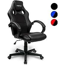 Merax® Bürostuhl Racing Stuhl Sportsitz Chefsessel Drehstuhl PU schwarz Bürodrehstuhl mit hoher Rückenlehne - Farbauswahl