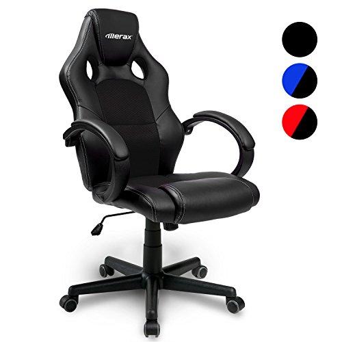 Merax Bürostuhl Racing Stuhl Sportsitz Chefsessel Drehstuhl PU schwarz Bürodrehstuhl mit hoher Rückenlehne - Farbauswahl