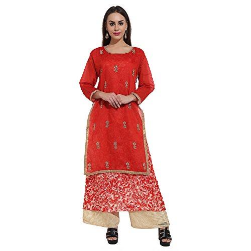 Papsara Red Chanderi Silk Women Kurti