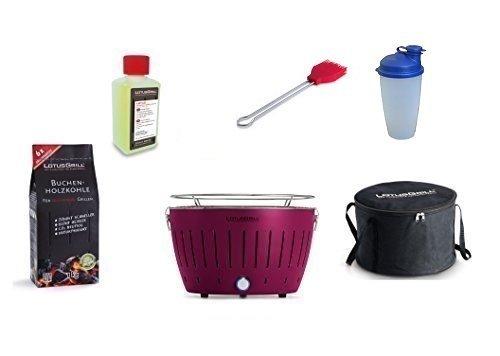 LotusGrill Kit débutant 1x violet prune 1x charbon de bois du livre 1kg, 1x Pâte brûlante 200 ml, 1x Marinierpinsel flamme rouge, 1x Shaker sauce, 1x sac transport - Le fumée PAUVRE / table