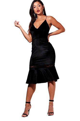 Schwarz Damen Katie Velvet Lace Insert Frill Hem Midi Dress