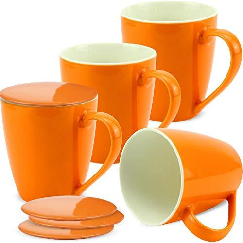 matches21 Tassen Becher Kaffeetassen Kaffeebecher Unifarben/einfarbig orange Porzellan 4 Stk. 10 cm...