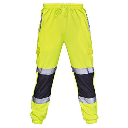 Kobay Uomini Strada di Lavoro Tuta Alta visibilità Casual Pocket Lavoro Pantalone Pants(Verde,Medium)