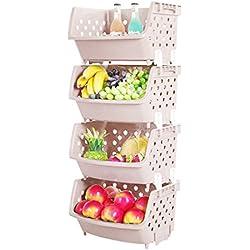 Obstkorb, ANNA SHOP 4Pcs Gemüse Obst Aufbewahrungsbox Regal Küche Verschiedene Waren Ablagekorb Kartoffel Aufbewahrung Korbregal (Khaki)