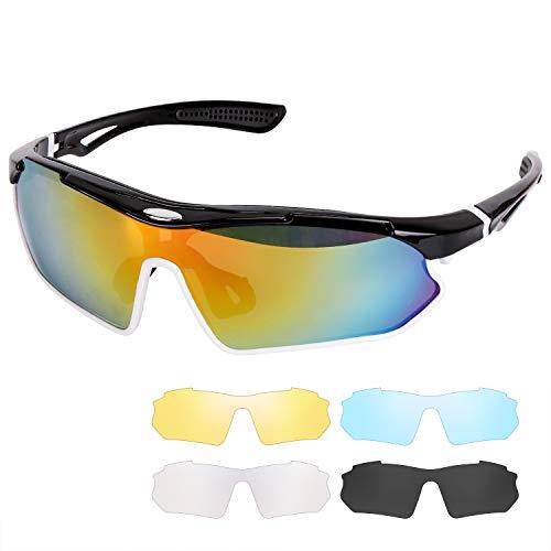 VACNITE Polarized Sports Sonnenbrillen, UV400-Schutz Augenschutzbrille mit 5 auswechselbaren Gläsern für Männer und Frauen beim Radfahren Golf Skifahren Laufen (Black White)