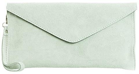 Big Handbag Shop Womens Real Italian Suede Leather Envelope Clutch Bag with Dust Bag (Ice Grey)