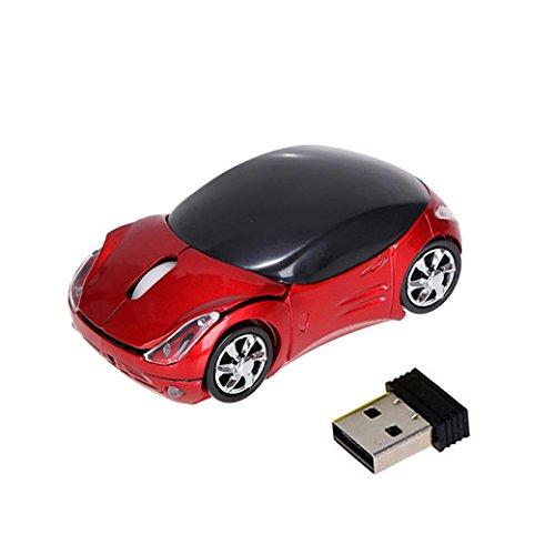 Preisvergleich Produktbild Mäuse Kabellos SOMESUN 2.4GHz 1200DPI Auto Geformte drahtlose optische Maus USB Rolle Maus für Tablet Laptop Computer (rot)