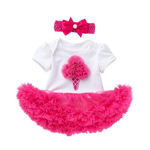Alwayswin Baby Kinder Mädchen Bow-Knoten Blumendruck Tanzparty Tüll Kleid Kurzarm Blume Tüll Strampler Dress + Stirnbänder Set Anzüge Sommer Prinzessin Party A-Linien Kleid Rock