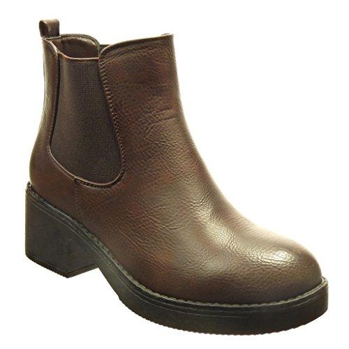 Angkorly - Scarpe da Moda Stivaletti - Scarponcini chelsea boots zeppe donna Tacco a blocco tacco alto 5 CM - Marrone BS013 T 40