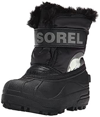 Sorel Toddler Snow Commander - Stivali Unisex Bimbi 0-24, Nero (Black/Charcoal), 21 EU
