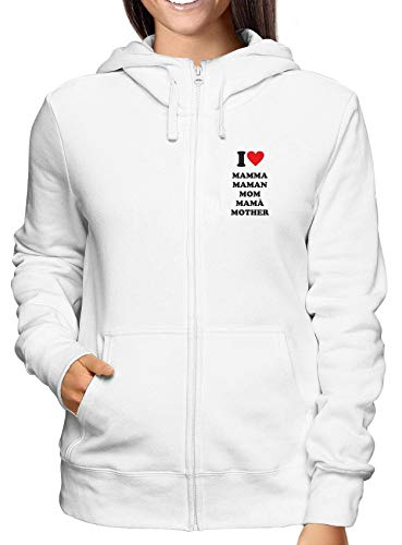 3067f135c8d2af Sudadera con Capucha Zip para Las Mujeras Blanco T0541 i Love Mamma