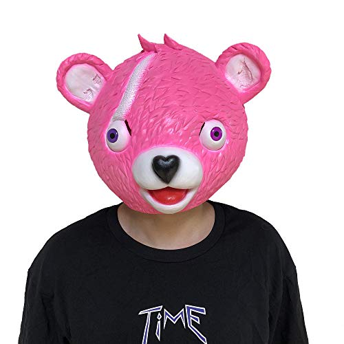 Huhu833 Halloween Maske, Kuschel Team Leader Fortnite Pink Bear Spiel Maske schmelzendes Gesicht Erwachsene Latex Kostüm Spielzeug (Rosa, S)