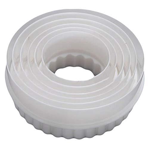 KaariFirefly 6pcs/Set Kunststoff-gekerbt Rillen-Gebäck Keks Ausstecher Kuchen-Dekor