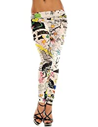 Destress Tattoo Leggings Magazine Print Style Comic destroy Graffiti Muster (S/M, 1-tattoo 1038)