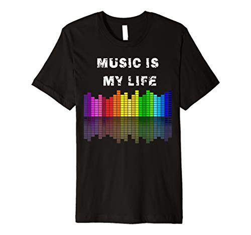 Music Is My Life Equalizer T-Shirts Musical Zitate Geschenk (Disco Themed Kostüme)