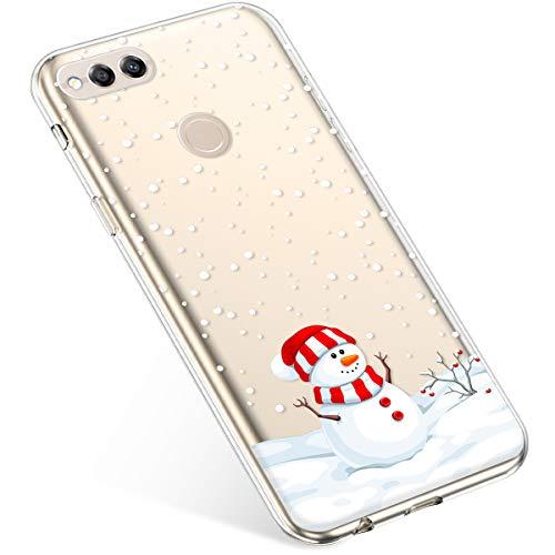 Kompatibel mit Handyhülle Huawei Honor 7X Schutzhülle Silikon Transparent Durchsichtig Handyhülle Schutzhülle TPU Dünn Handytasche Etui Case Cover,Dekorativer Schneemann