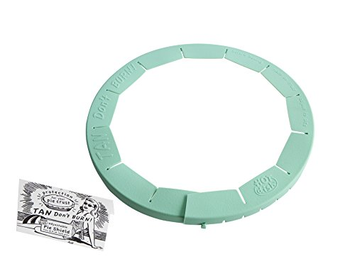 Talisman Designs Adjustable Pie Crust Shield, BPA-free Silicone, Aqua, Fits 8.5 - 11.5 Rimmed Dish by Talisman Designs