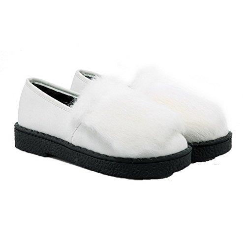 VogueZone009 Damen Ziehen Auf Zehe Rund Hoher Absatz Pu Leder Rein Pumps Schuhe Weiß