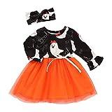 Riou Kinder Langarm Halloween Kostüm Top Set Baby Kleidung Set Kleinkind Kinder Baby Mädchen Kürbis Striped Print Langarm Halloween Kleid + Stirnbänder gesetzt Skelett (110, Orange)