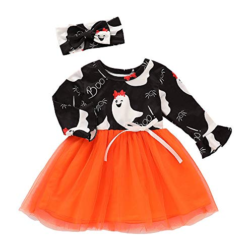 Riou Kinder Langarm Halloween Kostüm Top Set Baby Kleidung Set Kleinkind Kinder Baby Mädchen Kürbis Striped Print Langarm Halloween Kleid + Stirnbänder gesetzt Skelett (80, Orange) (Kostüm Halloween Baby Zombie)