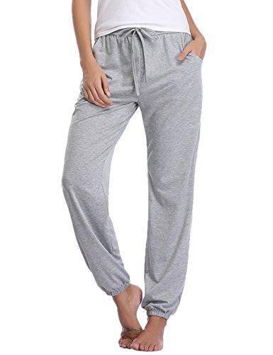 Aibrou Damen Modal Lässige Gestrickte Schlafanzughose Pyjamahose Grau S