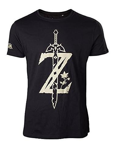 Zelda Men T-shirt Sword Game Logo Breath of the Wild Nintendo Cotton Black - M