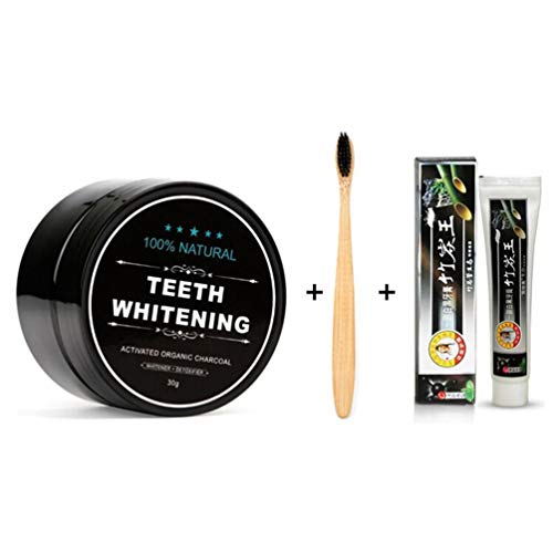Natürliche organische aktivierte Holzkohle Bambus Zahnweiß-Pulver Zahnpasta Zahnbürste Set für Männer Frauen - Männer Zahnpasta Für