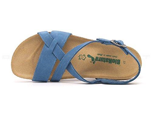 Bionatura 12 A 826, Sandalo Donna Anatomico con Rialzo Nabuk Jeans