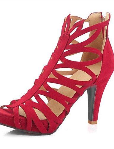 LFNLYX Scarpe Donna-Sandali-Matrimonio / Formale / Casual / Serata e festa-Tacchi-A stiletto-Felpato-Nero / Verde / Rosso Red