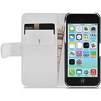 iPhone 5C Lederhülle | JAMMYLIZARD Ledertasche [ Wallet Tasche Series ] Leder Book Case Hülle Flip Cover Schutzhülle mit Kartenfach, Weiß
